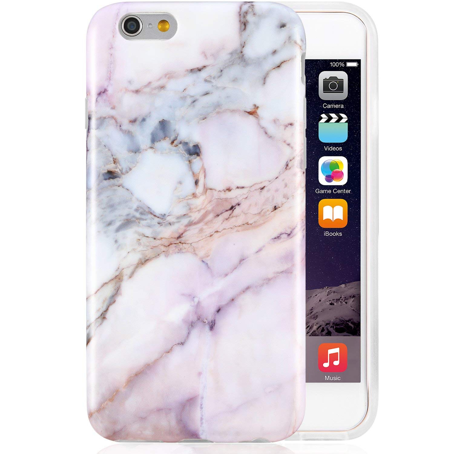iPhone 6 Case, iPhone 6s Case,Pink Marble for Girls,VIVIBIN Shock Absorption IMD Soft TPU Gel Protective Case for Regula iPhon