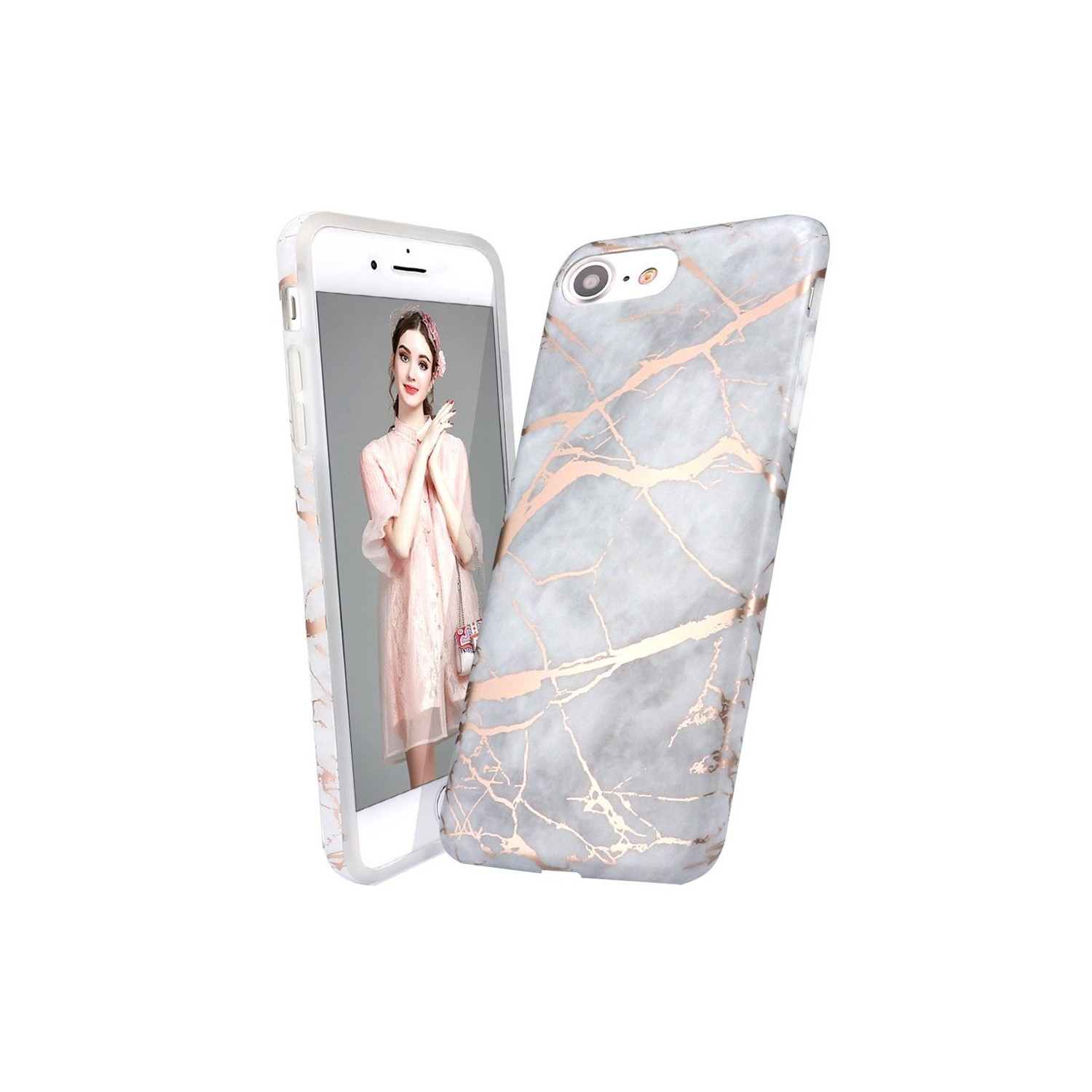 Iphone 5 Caseiphone 5s Se Caseshiny Rose Gold Metallic Light Gray