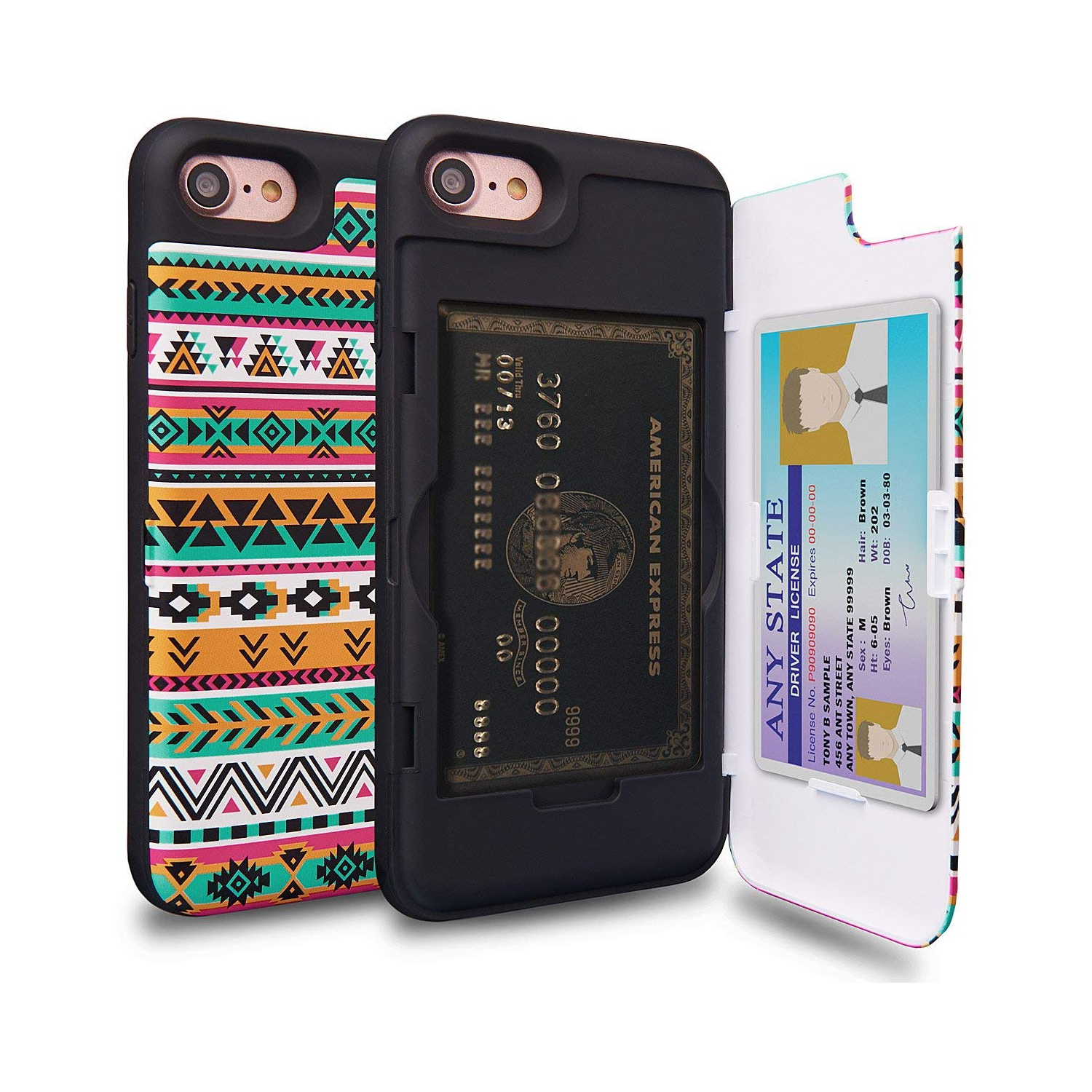buy online fabd2 8072d iPhone 7 Case, TORU [iPhone 7 Wallet Case Pattern Colorful] Dual Layer  Hidden Credit Card Holder ID Slot Card Case with Mirror
