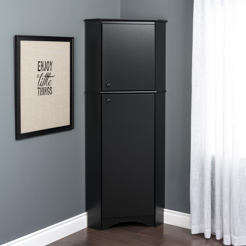 Elite Home Storage 72 4 Shelf Wood Corner Cabinet With Doors