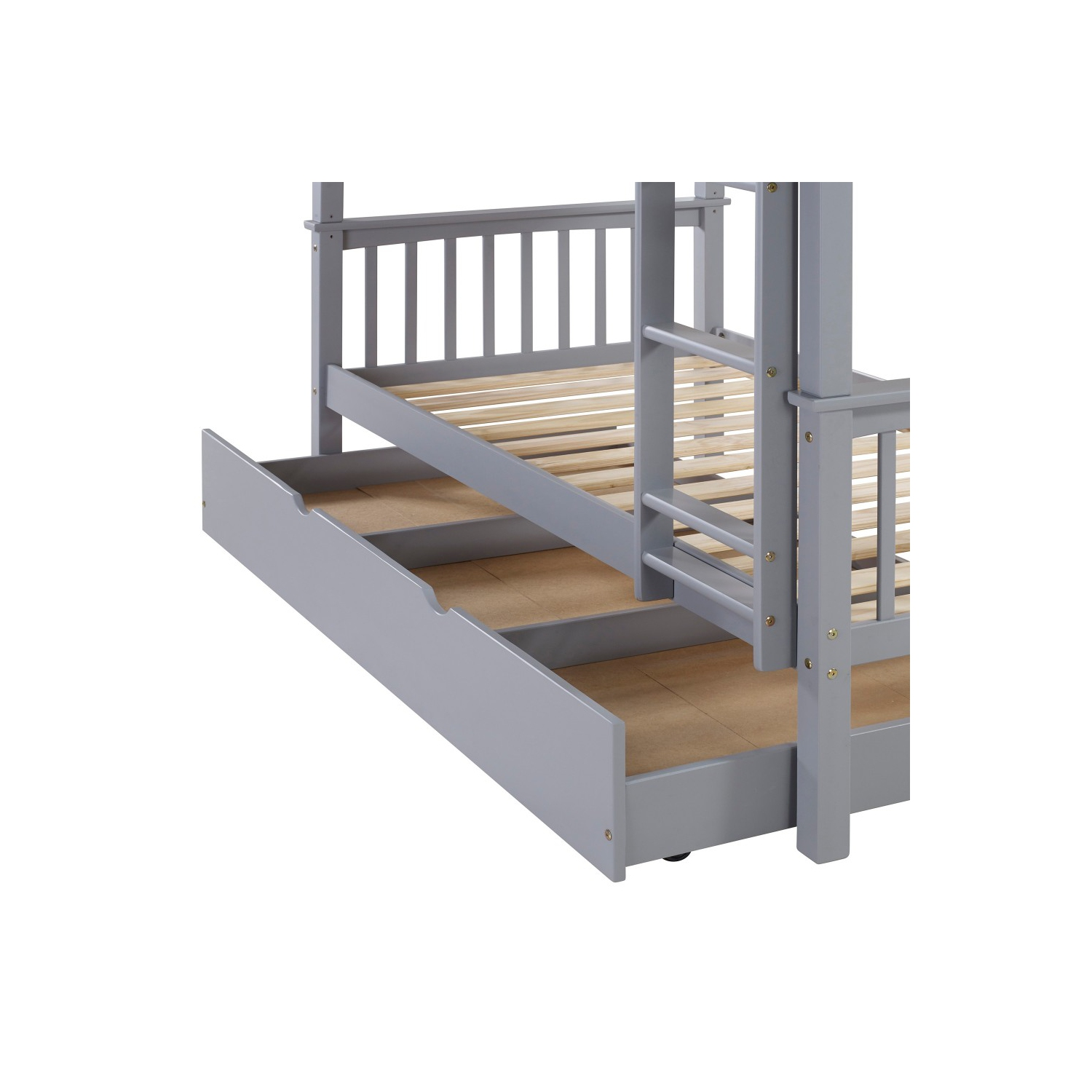 We furniture kids durable solid wood twin trundle bed grey online only