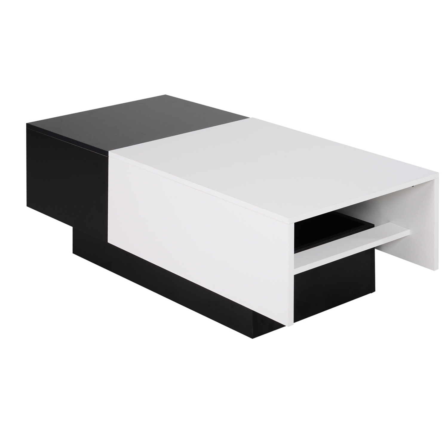 Homcom modern rectangular wooden coffee table with slide top trunk storage black white online only