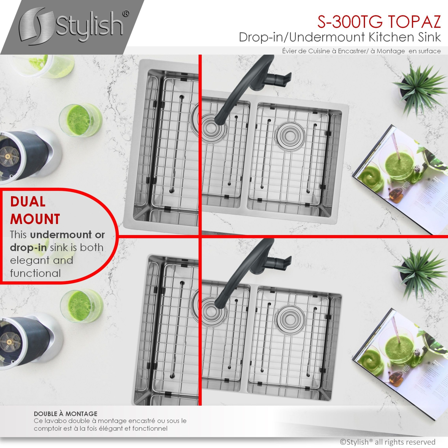 Stylish 28 L X 18 W Dual Mount Double Bowl Kitchen Sink With Grids And Strainers Best Buy Canada