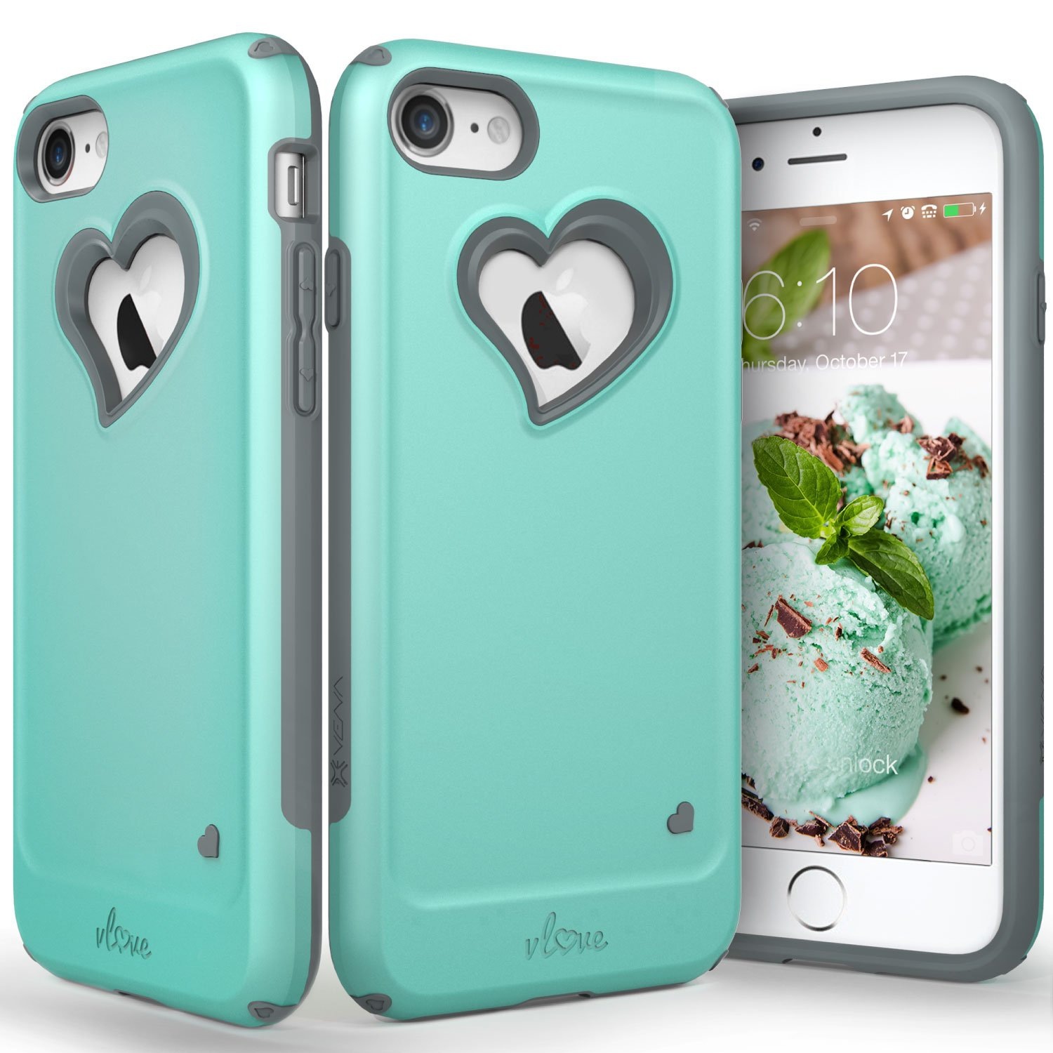 iPhone 8 Case, iPhone 7 Case, Vena [vLove][Heart-Shape | Dual Layer Protection] Hybrid Bumper Cover for Apple iPhone 8, iPh...