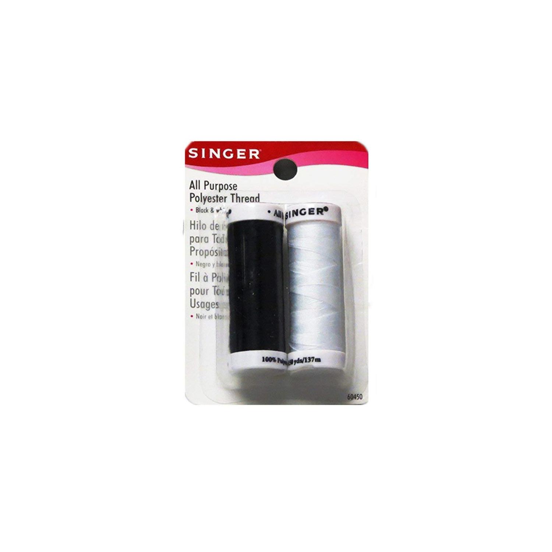 604509 Singer All Purpose Polyester Thread Black /& White