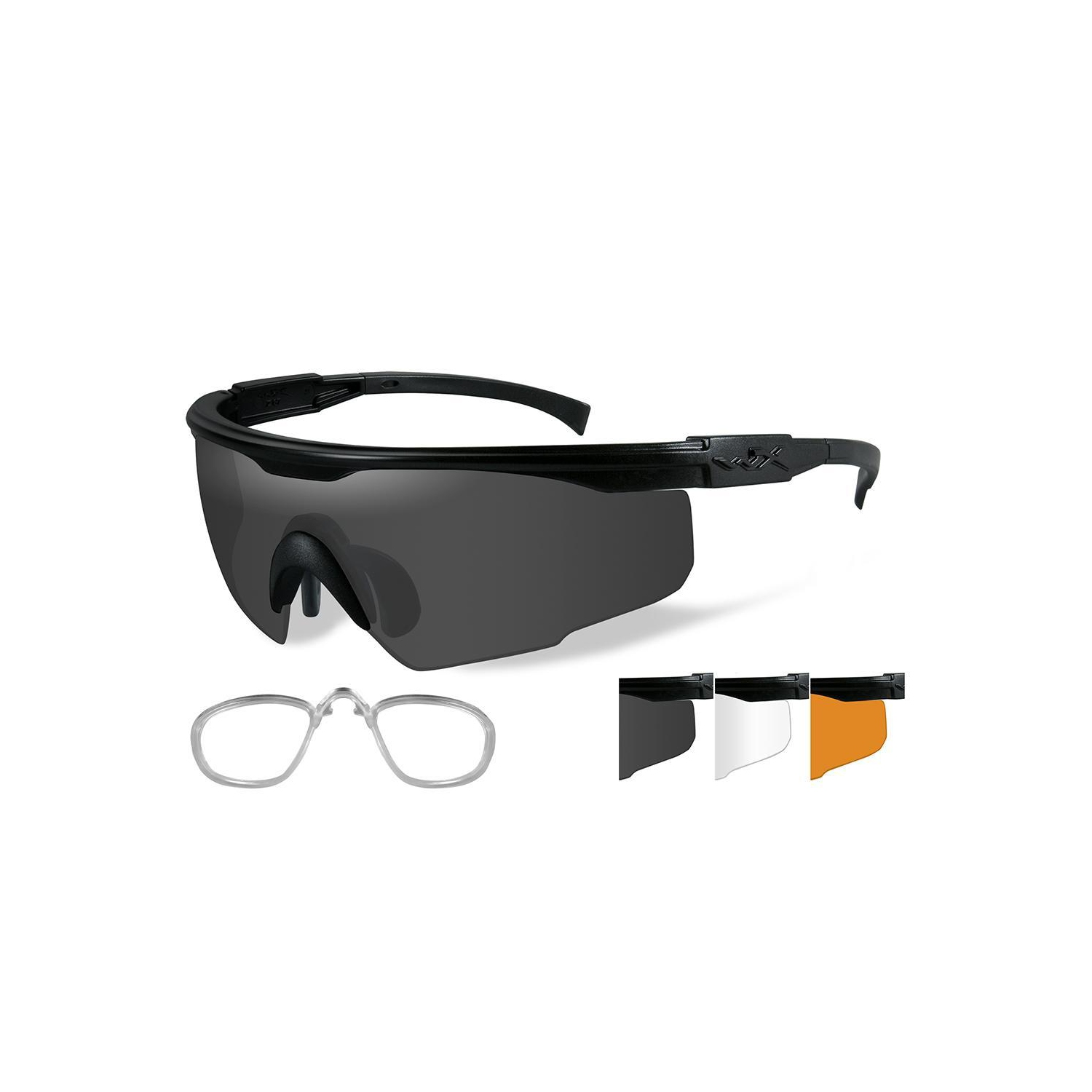 133511f0974 Wiley X PT-1 Sunglasses - Smoke Grey-Clear-Rust Lens - Matte Black Frame w- Rx Insert - Online Only