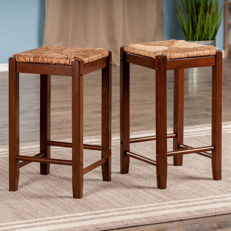Kaden transitional counter height bar stool set of 2 walnut online only