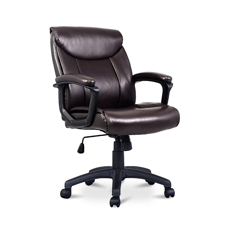 Costway pu leather mid back executive computer desk task office chair brown chaises de bureau best buy canada