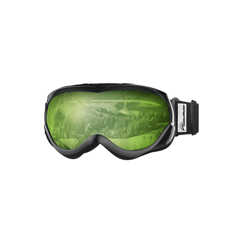 6ef0504a953 OutdoorMaster Helmet Compatible Kids Ski Snow Goggles Boys   Girls 100% UV  Protection (Black + L.Green (VLT 80%)) - Online Only