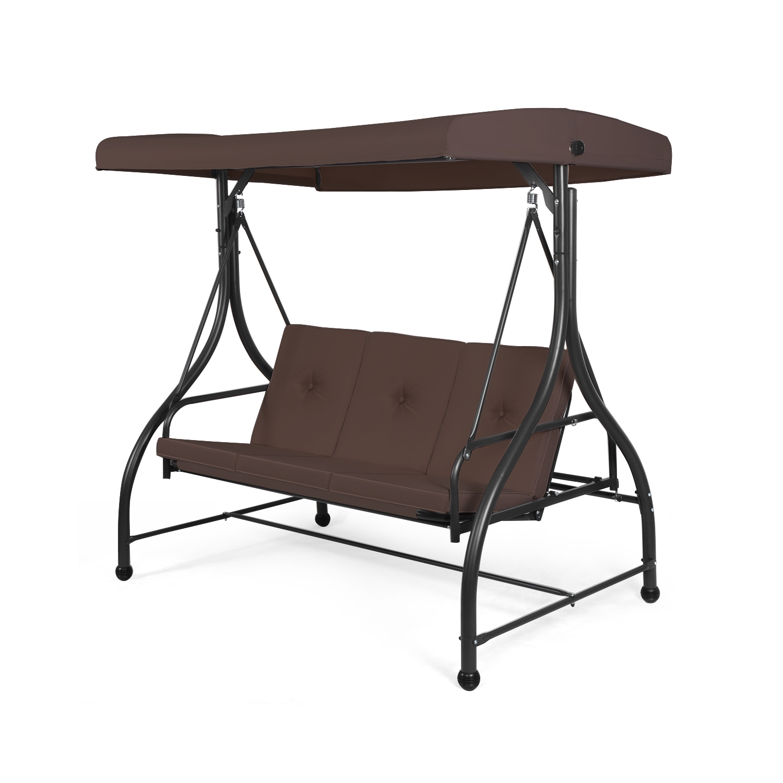 Converting Outdoor Swing Canopy Hammock 3 Seats Patio Deck Furniture