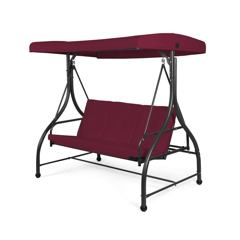 Converting Outdoor Swing Canopy Hammock 3 Seats Patio Deck Wine Red