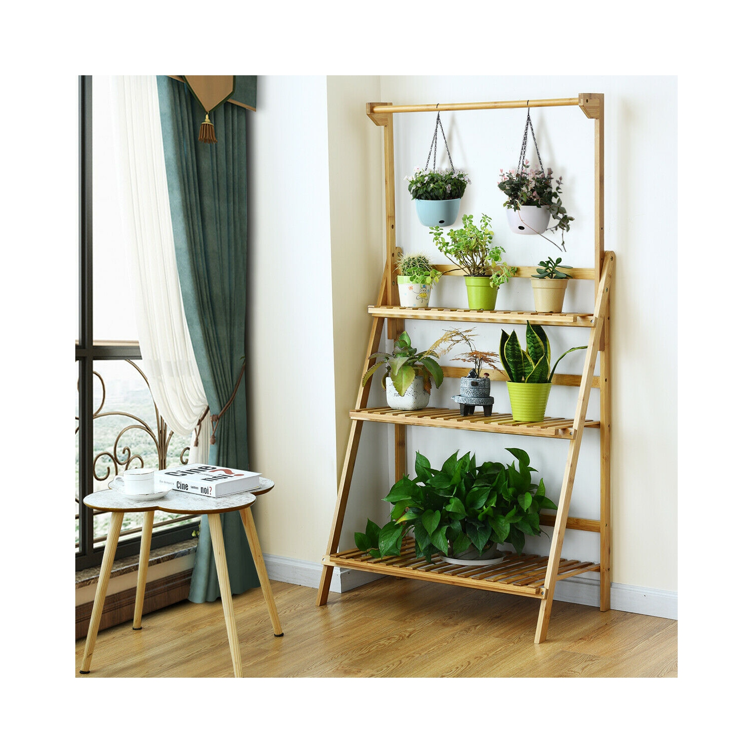 3 Tier Bamboo Hanging Folding Plant Shelf Stand Flower Pot Display Rack Bookcase Best Buy Canada