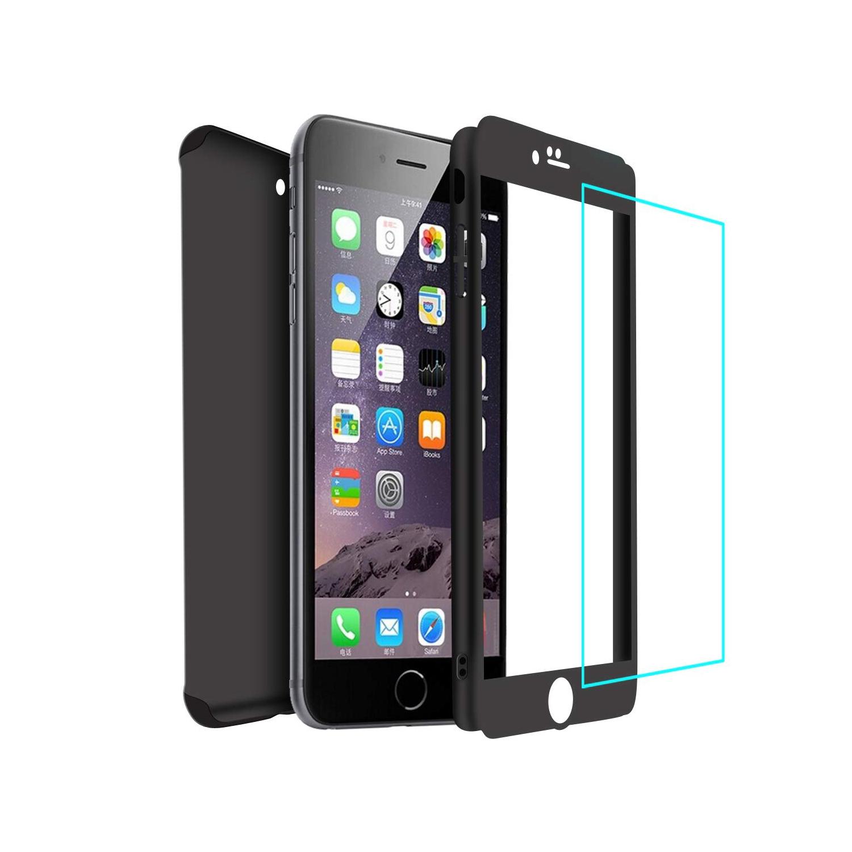 iPhone 6 / 6s Coque avec Verre Trempé Film de Protection, Housse Etui 360 Degrés Protecteur Macaron Cover 2 en 1 (Noir)