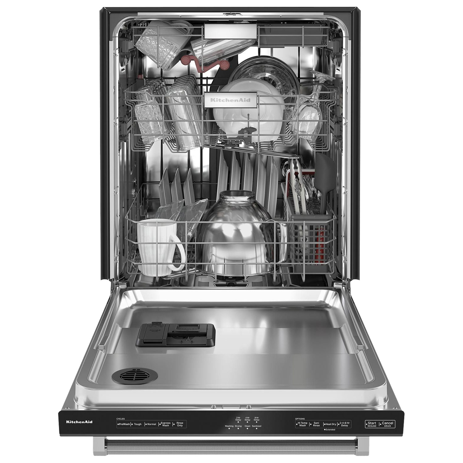 Kitchenaid 24 44db Built In Dishwasher With Stainless Steel Tub Kdtm404kbs Black Stainless Best Buy Canada