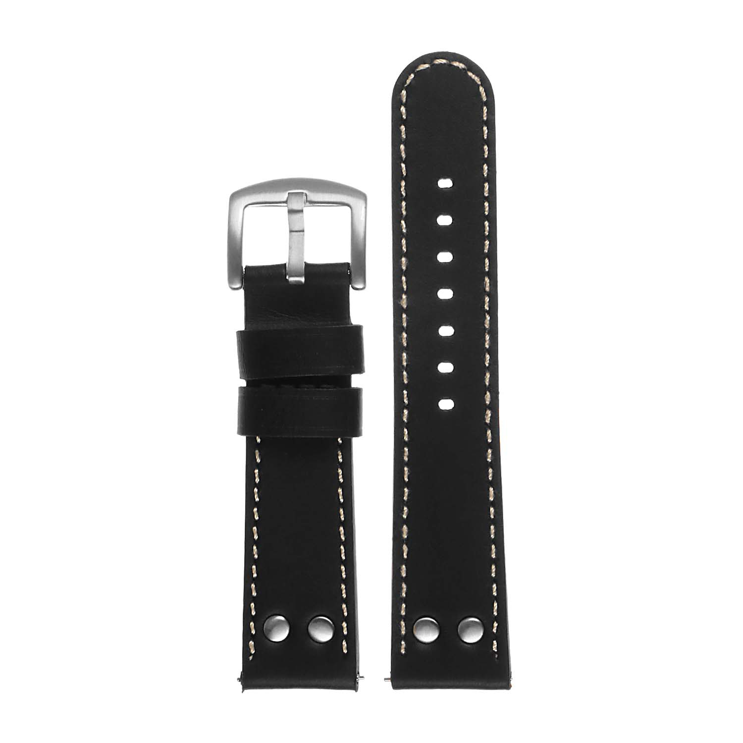 Dassari Leather Pilot Watch Band Strap For Guess Connect Iq Connect Wear Os Black White Best Buy Canada