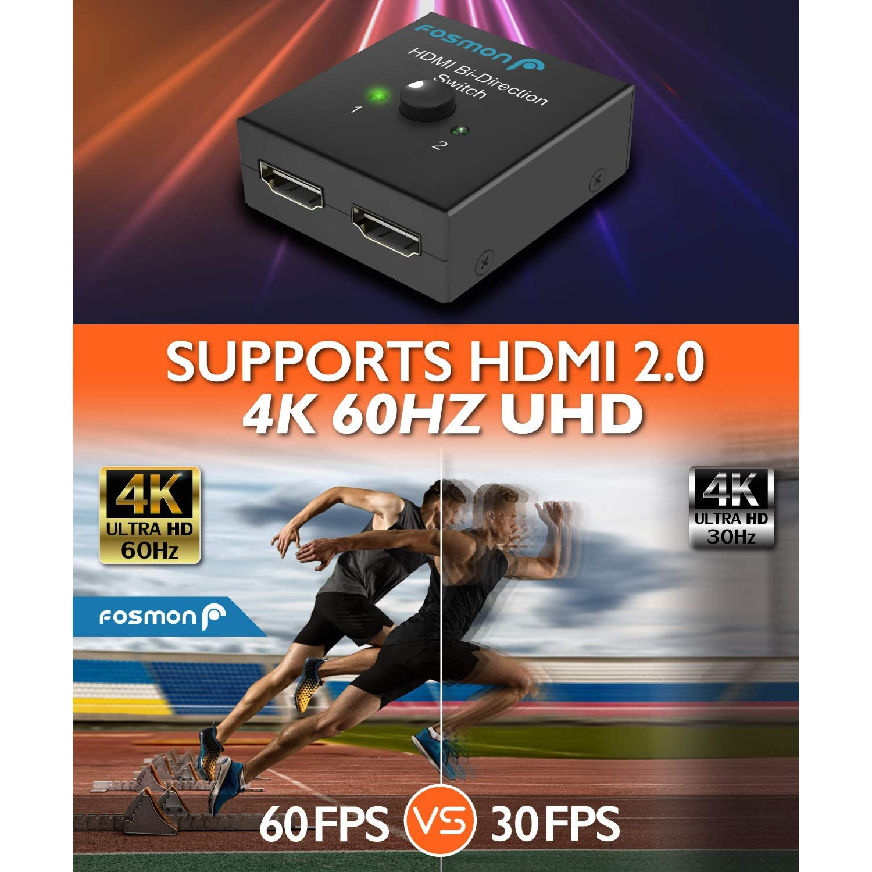 Fosmon 2 Port Hdmi 2 0 Switch 4k 60hz 2x1 1x2 Bi Directional Hdmi Switcher Uhd 4kx2k 3d Hd 1080p Hdcp 2 Input 1 Output Spl Best Buy Canada