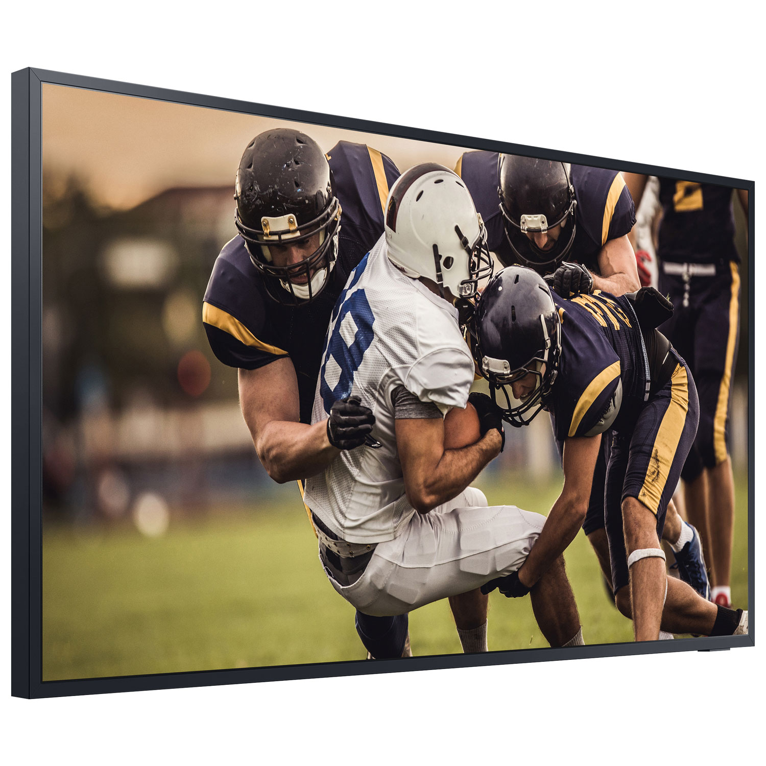 Outdoor TV showing football
