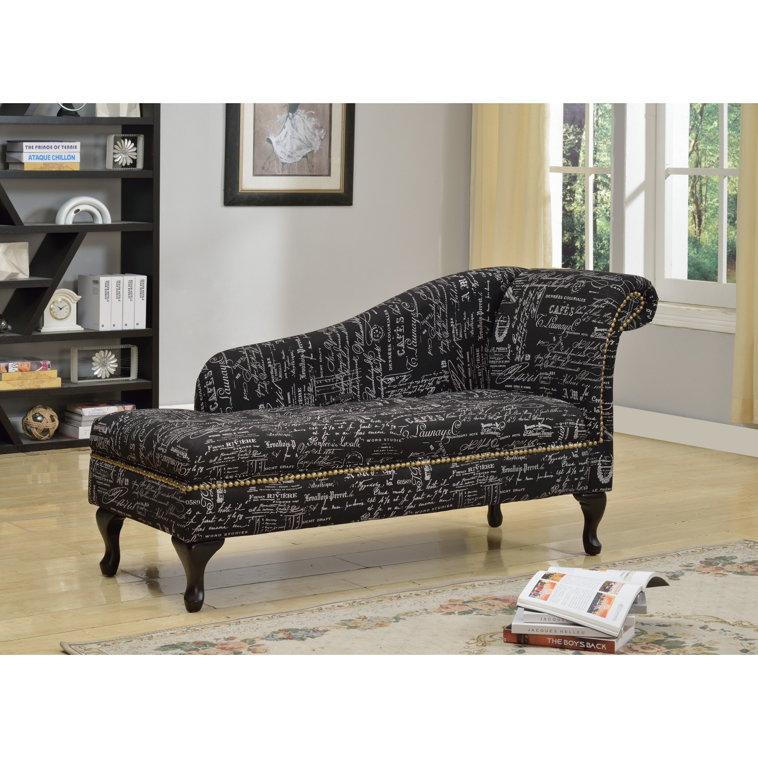 K Living Awsta Vintage Style Scripted Print Black Chaise Best Buy Canada