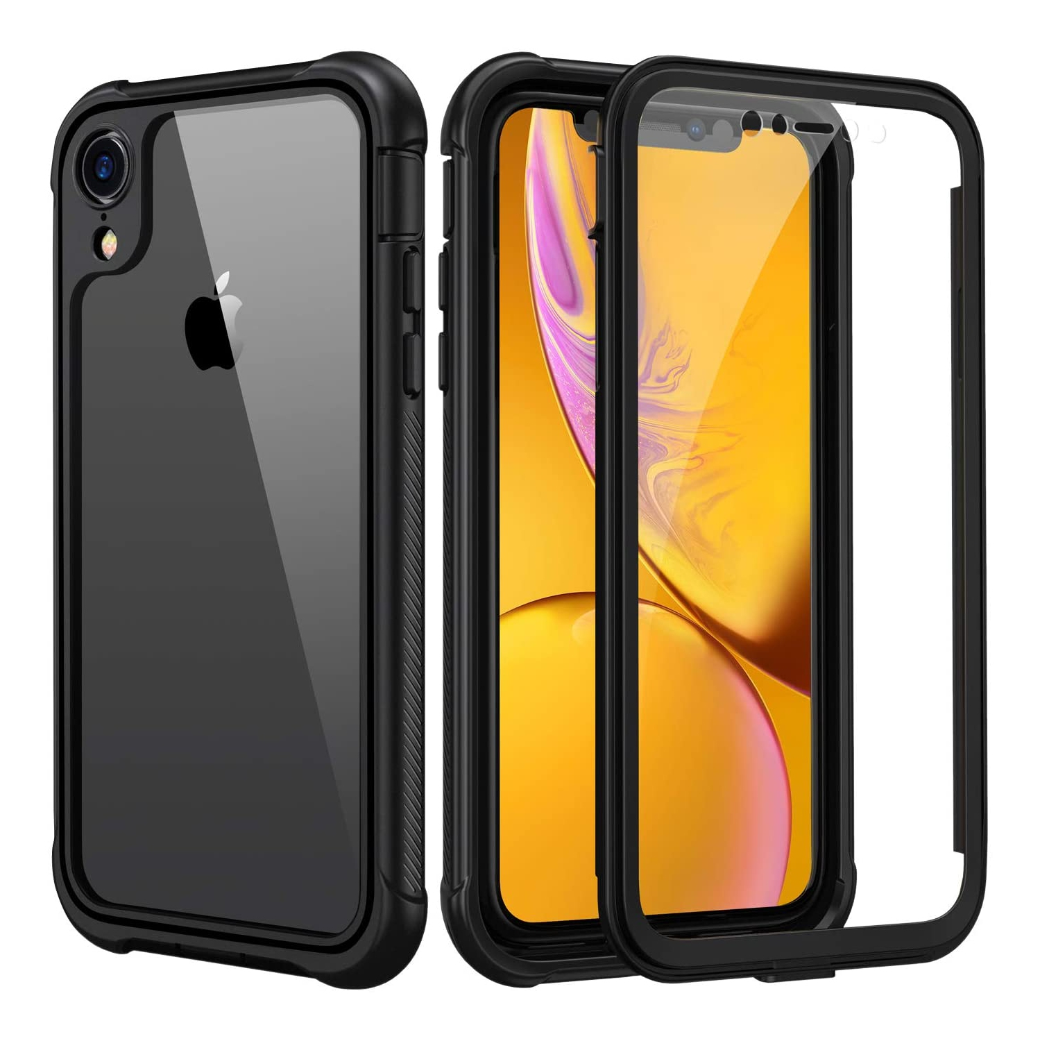 Seacosmo iPhone XR Case, [Built-in Screen Protector] Full Body Clear Bumper Phone Case Rugged Shockproof Protective