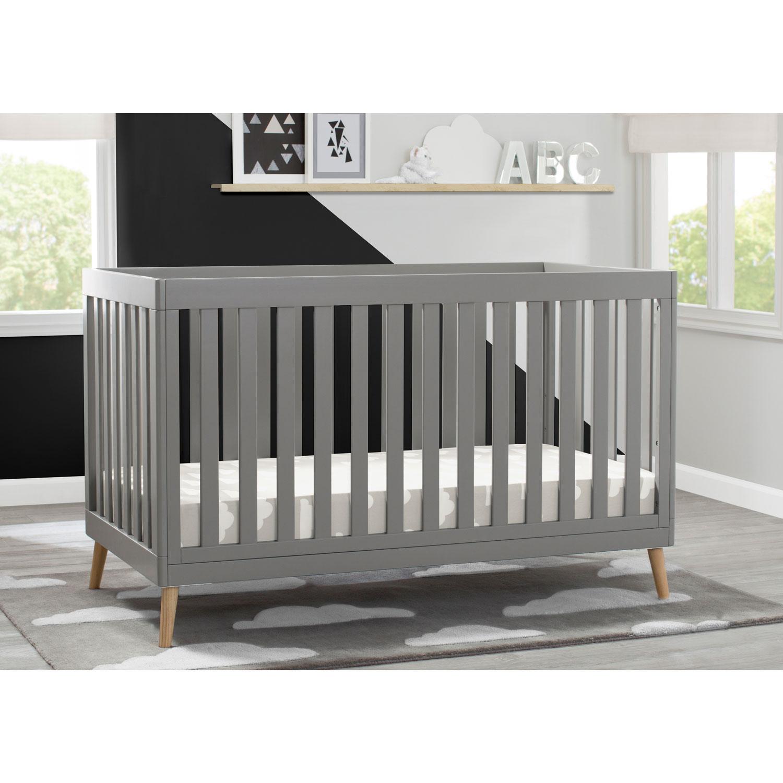 Grey w//Natural Delta Children Tucker 4-in-1 Convertible Crib