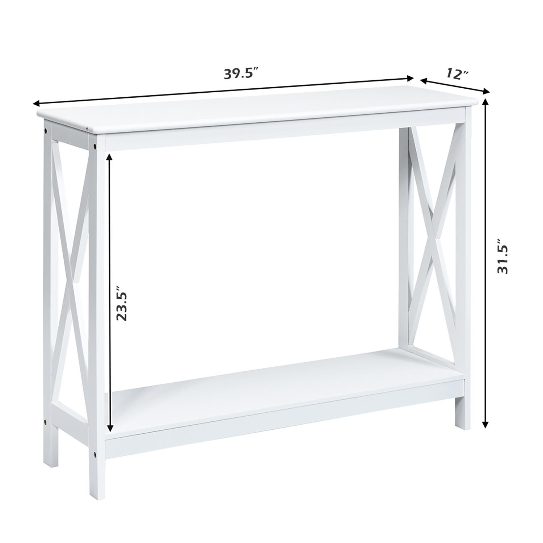 Costway 2 Tier Console Table X Design Bookshelf Sofa Side Accent Table W Shelf White Black Espresso Wood Grain Best Buy Canada