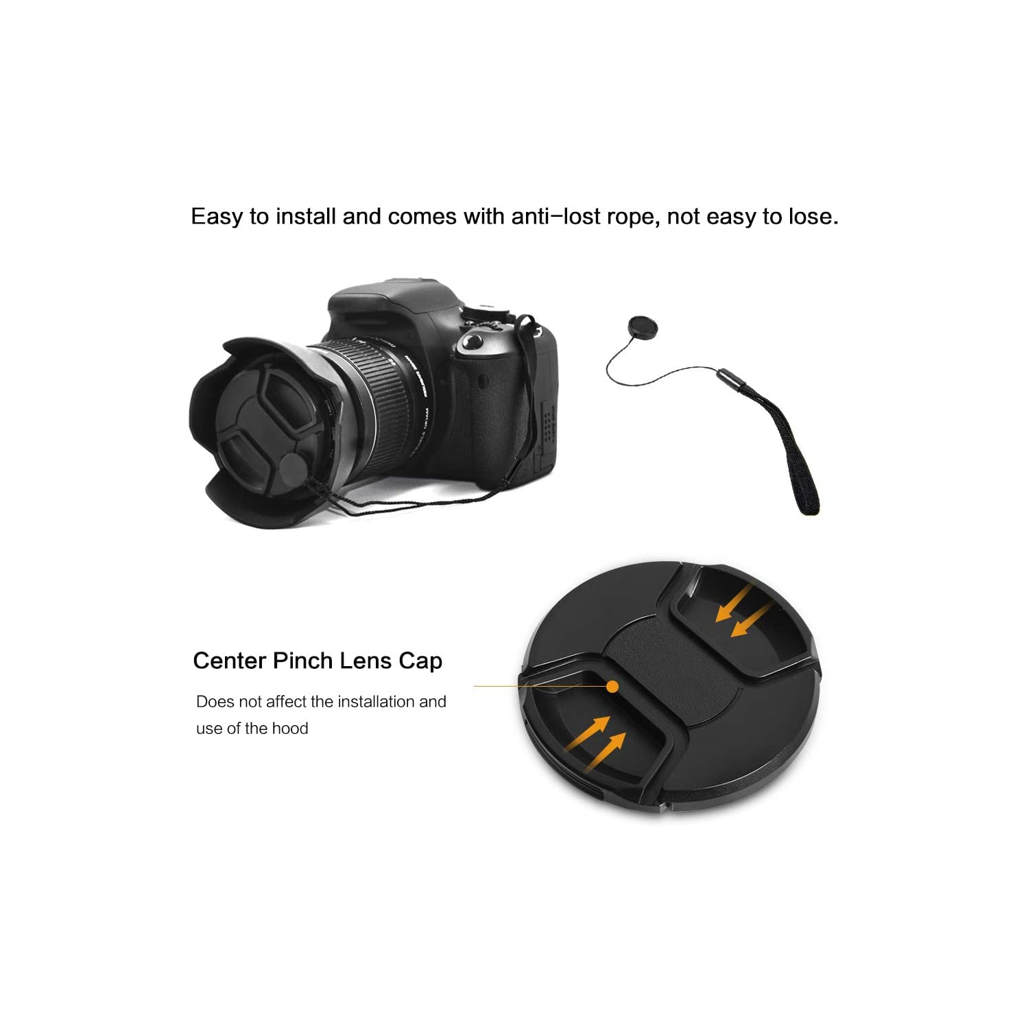 GAOAG 2 Pack 37mm Center Pinch Lens Cap for Olympus Panasonic Canon Nikon and Other Brand of Lenses with 37mm Filter Thread,Replaces Olympus LC-37B Front Lens Cap