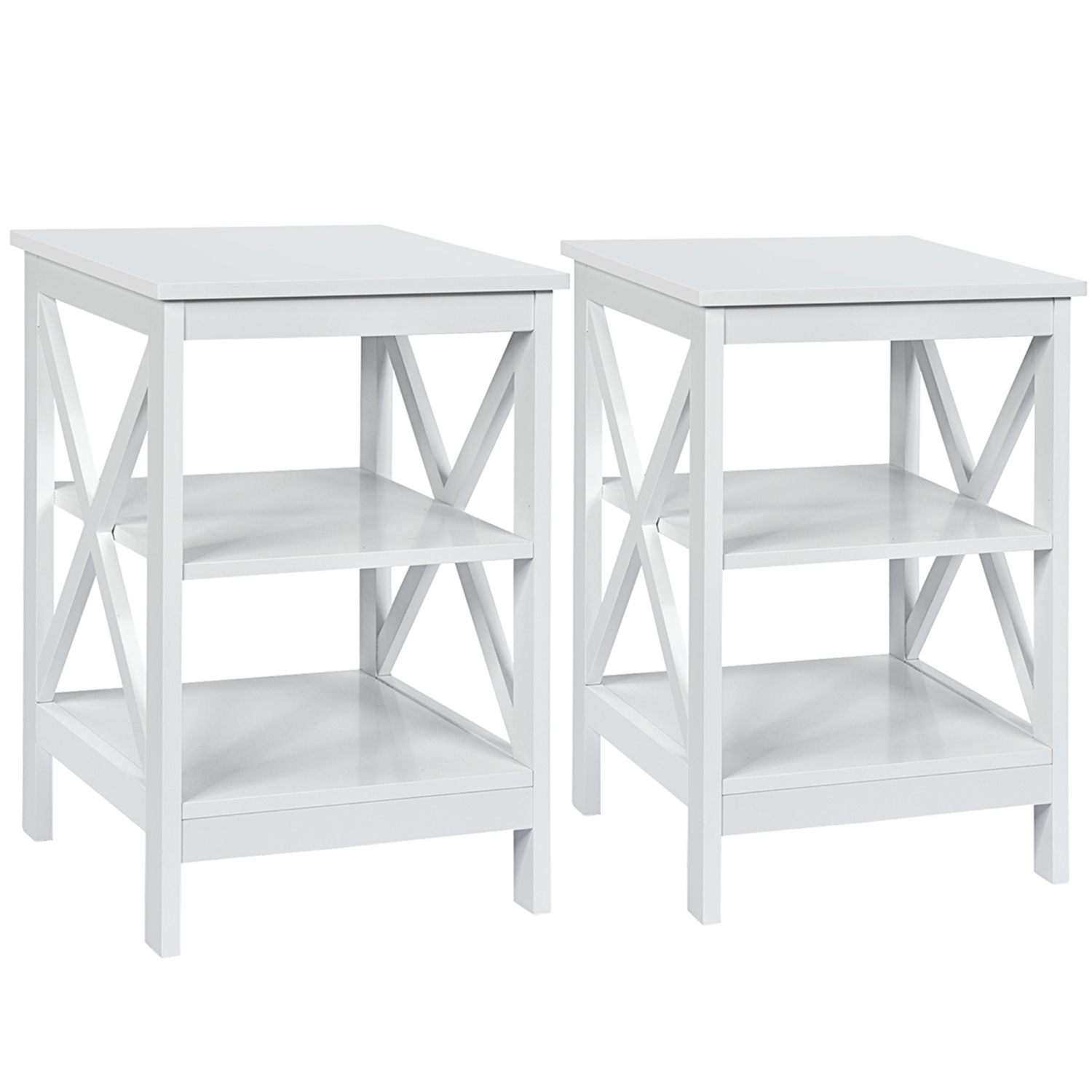 Gymax 2 Pcs 3 Tier Nightstand End Table X Design Storage Display Shelf Living Room Best Buy Canada