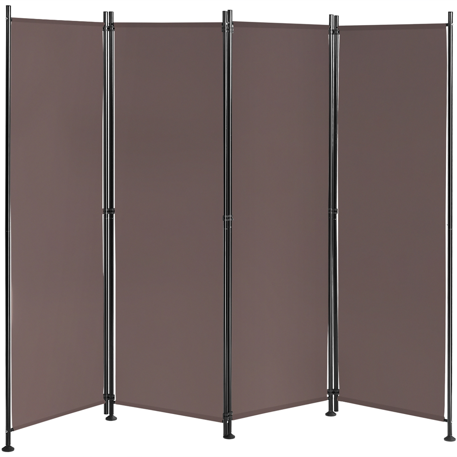 Costway 4 Panel Room Divider Folding Privacy Screen W Steel Frame Decoration Brown Best Buy Canada