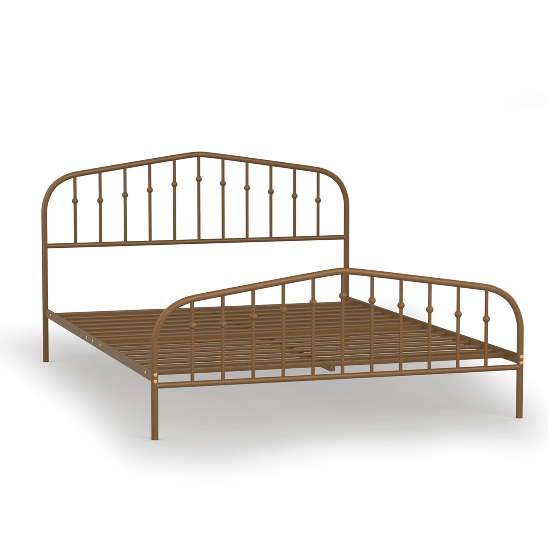 Image of: Costway Queen Size Metal Bed Frame Steel Slat Platform Headboard Bedroom Antique Brown Black Best Buy Canada