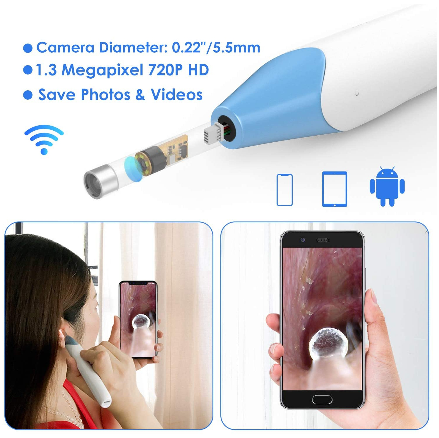 Tablet YYS SPY Digital Wireless Otoscope Windows USB Ear Cleaner with WiFi Box for iPhone iPad Android Mac 720P WiFi Ear Scope Endoscope Ear Camera with Earwax Remover Tools with 6 LED Lights