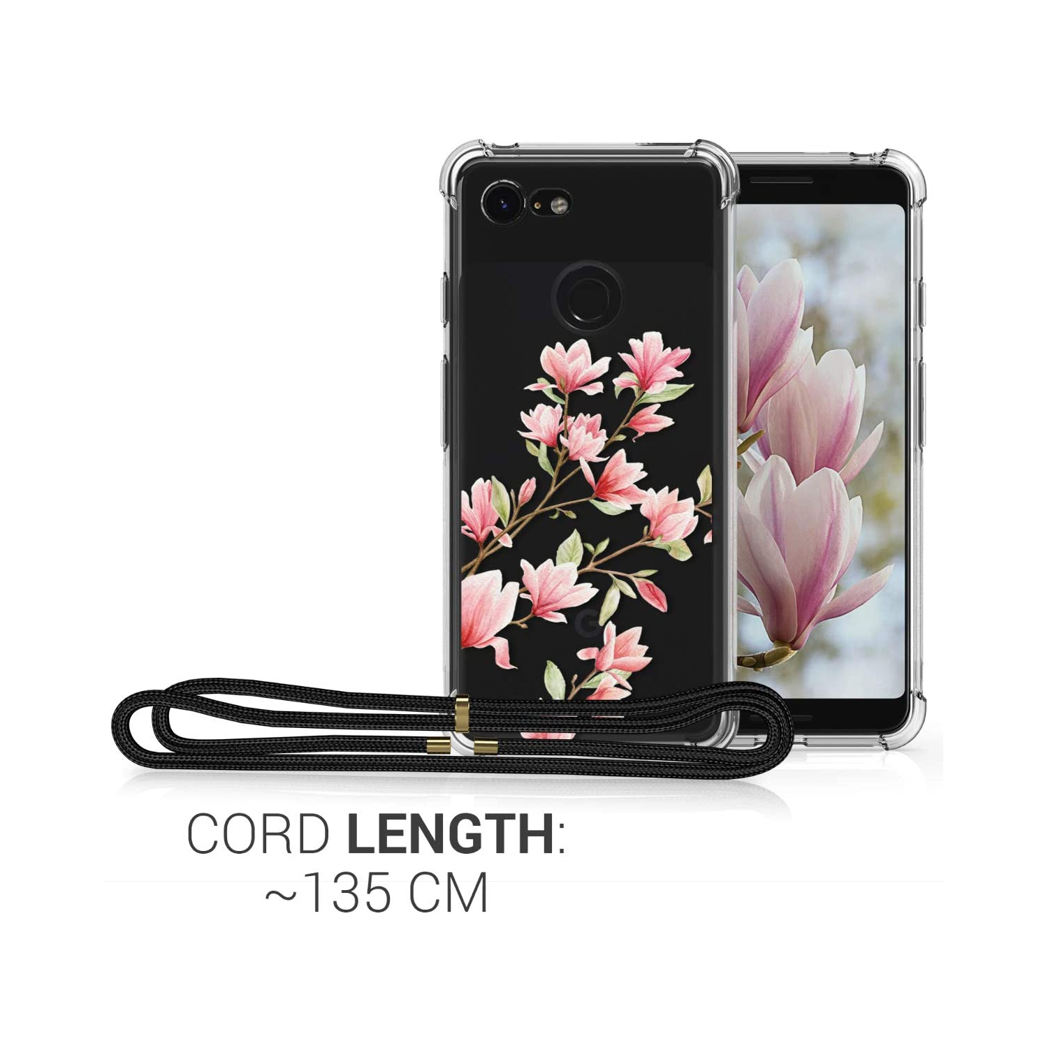 Clear TPU Cell Phone Mobile Cover Holder with Neck Cord Lanyard Strap Magnolias Light Pink//White//Transparent kwmobile Crossbody Case Compatible with Google Pixel 3