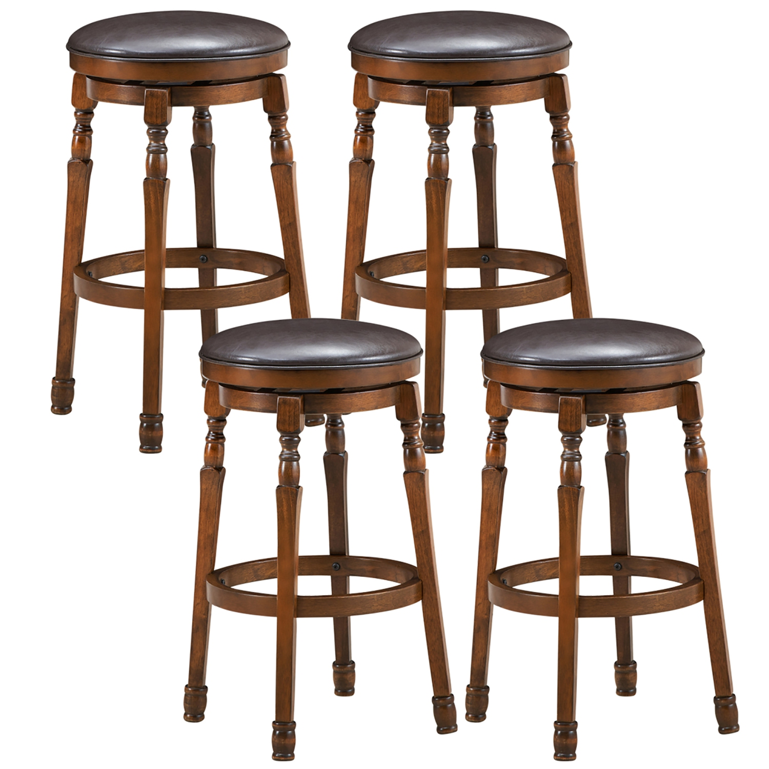 Picture of: Costway Set Of 4 29 Swivel Bar Stool Leather Padded Dining Kitchen Pub Chair Backless Best Buy Canada