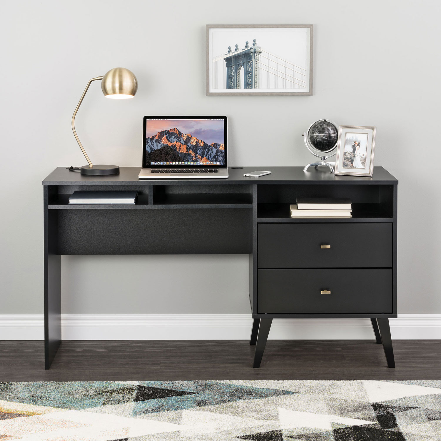 Milo Mid Century Modern Computer Desk With 3 Shelves 2 Drawers Black Best Buy Canada