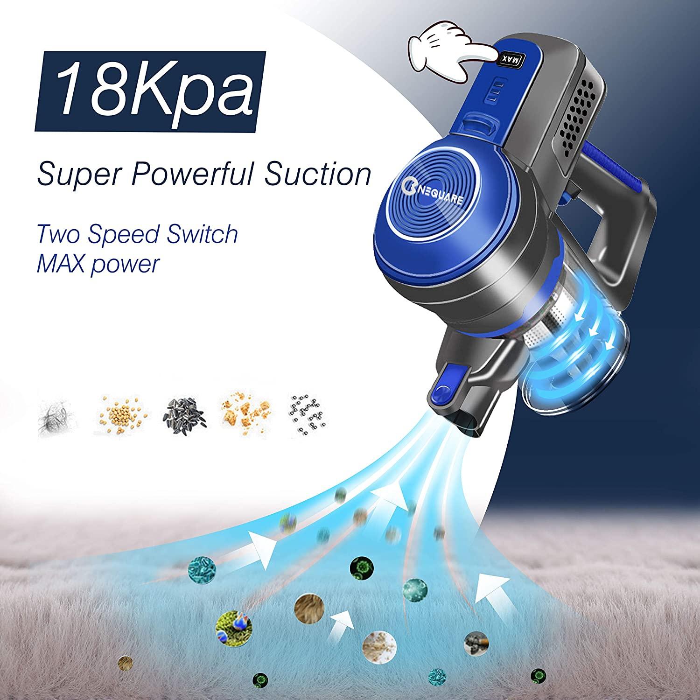 Bater/ía Extra/íble y Autonom/ía 30 min,Cabezal LED,de Mano Ligera para Pelo de Animales, Filtros HEPA Lavables y 3 Cepillos HueLiv Aspiradora Escoba de 18Kpa inal/ámbrica 2 en 1