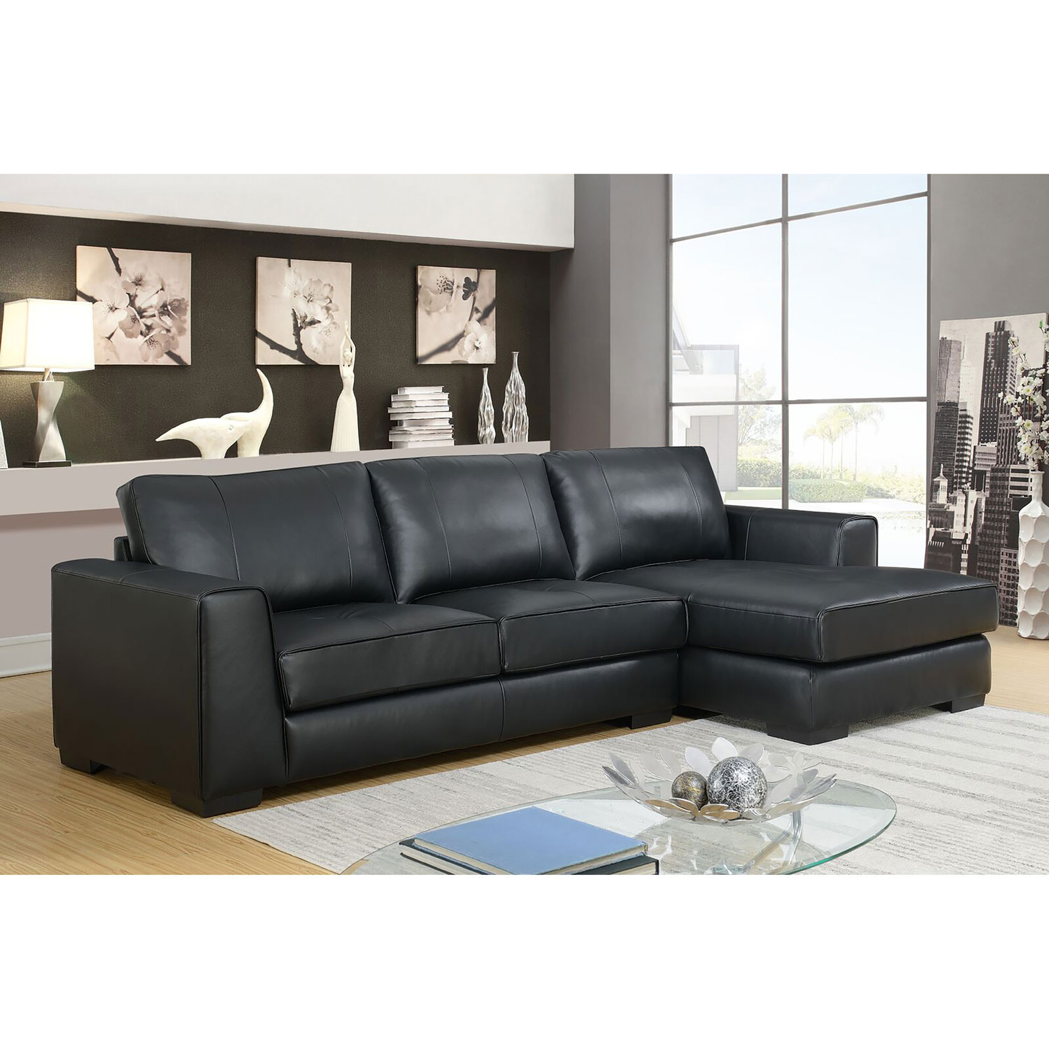 Concise contemporary 2 piece genuine leather sectional sofa with right facing chaise black online only