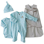 HALO Innovations Newborn 4-Piece Cotton Layette Set - Turquoise/ Brown