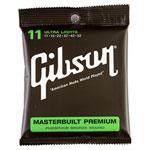 Cordes de guitare acoustique phosphore/bronze Masterbuilt Premium .011 - .052 de Gibson (SAG-MB11)