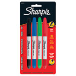 Sharpie Twin-Tip Fine/Extra Fine Point Permanent Marker (SAN32174PP) - 4 Pack - Assorted