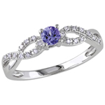 Gemstone Bridal Sterling Silver with Purple Round Tanzanite & 0.1ctw I2-I3 White Diamond Ring-Size 7