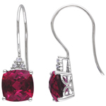 Modern 10K White Gold with Red Cushion-Cut Created Ruby & 0.03ctw White Diamond Gemstone Earrings