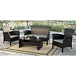 Cascade Contemporary 4-Piece Patio Conversation Set - Black