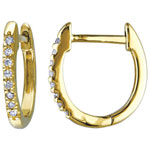 Classic 10K Yellow Gold with 0.096ctw I1-I2 White Diamond Hoop Earrings