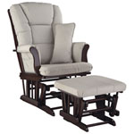 Stork Craft Tuscany Glider and Ottoman Set - Espresso / Taupe Swirl