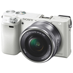 Sony A6000 24.3MP Mirrorless Camera with 16-50mm Lens Kit - White
