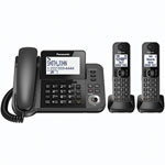 Panasonic 2-Handset DECT 6.0 Corded/Cordless Phone with Answering Machine (KXTGF352M)