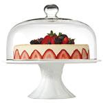 Très grand plat à gâteau sur socle de 13 po avec dôme en verre Bianco de Brilliant