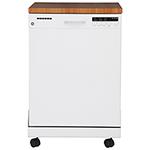 Lave-vaisselle portatif 24 po 57 dB de GE avec cuve en acier inoxydable (GPF400SGFWW) - Blanc