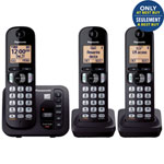 Panasonic 3-Handest DECT 6.0 Cordless Phone with Answering Machine (KXTGC253B) - Black - Only at Best