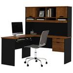 Innova Corner Desk with Hutch - Tuscany Brown/Black