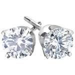 Diamond Stud 14K White Gold with 0.14ctw I1-I2 White Round Diamond Stud Earrings